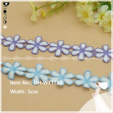 Charming colorful flower lace trim,purple/blue guipure crochet lace trim