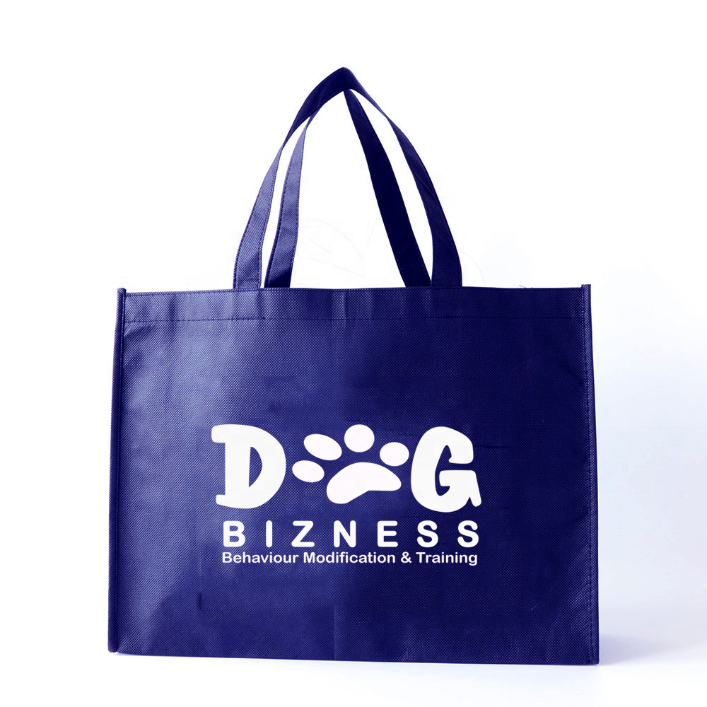 40x30x12cm Custom Printed Navy Blue Non Woven <strong>Eco</strong> Tote Bags Reusable Shopping Bag