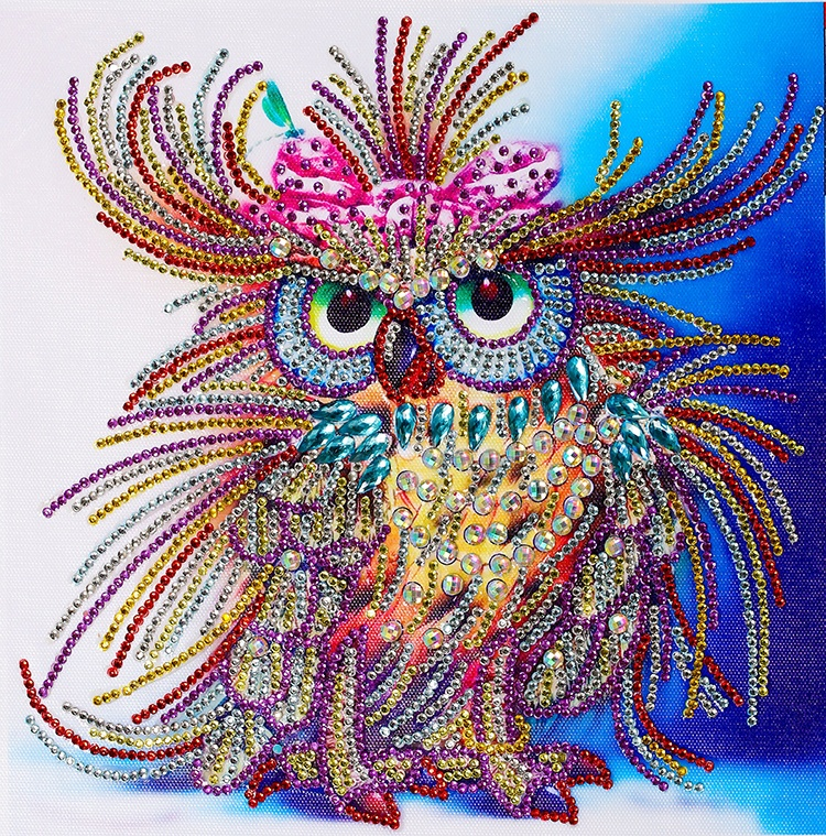 Hot Jual Colorful Owl Diamond Bordir Lukisan Seni Berbentuk Khusus Campuran Batu Diamond Lukisan Cross Stitch