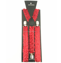 Red Sequin Unisex Braces Adjustable Y-Back Suspenders
