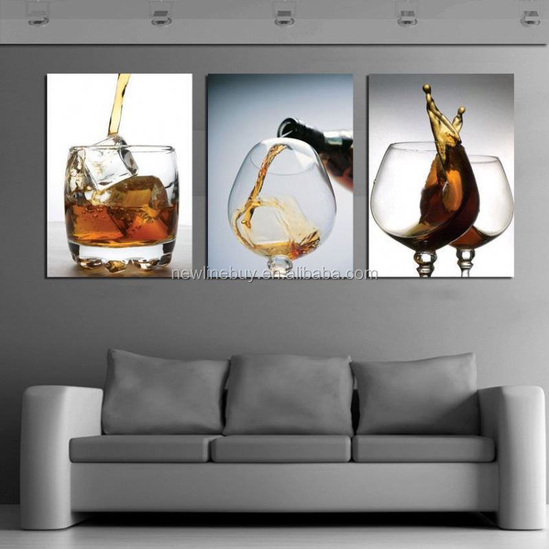 Hot Sell 3 Panels Modern Vintage Strong Kitchen Strong Wine Glass