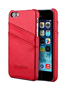 iPhone 5/5s/5SE Case, Nvwa Apple iPhone 5/5s/5SE Case Premium Genuine Leather Wallet Case with Card Holders for iPhone 5/5s/5SE -Red
