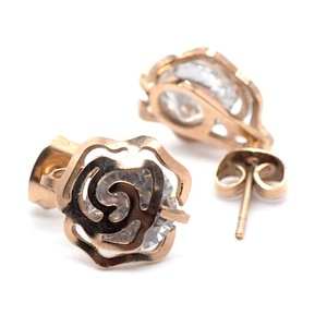 Rose love Modern girl lady ear ring cuff of rose gold snake ear ring with single stone