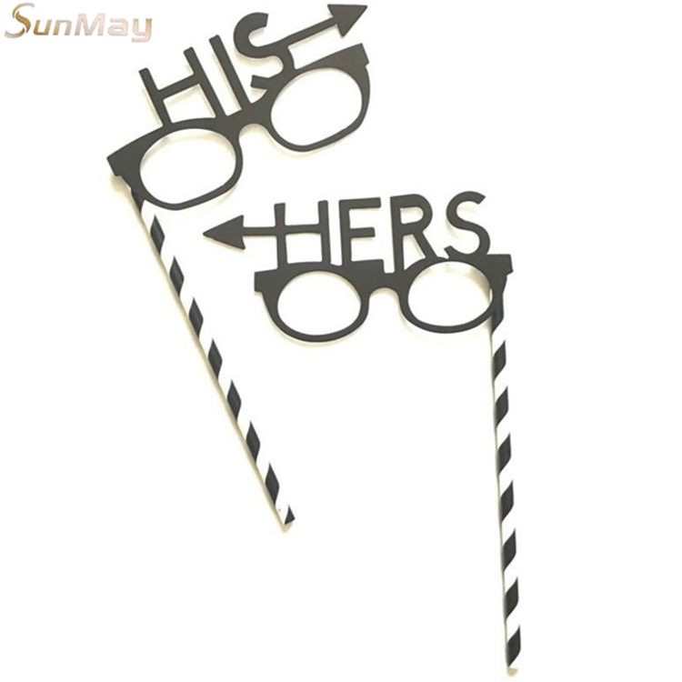 Black his and he shapes party photo booth props glasses shape wedding photo booth props
