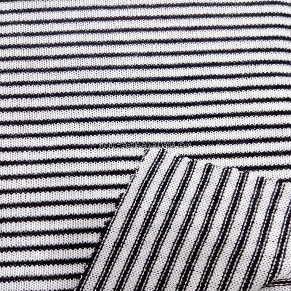 slub and striped polyester rayon jersey knit fabric for sweater