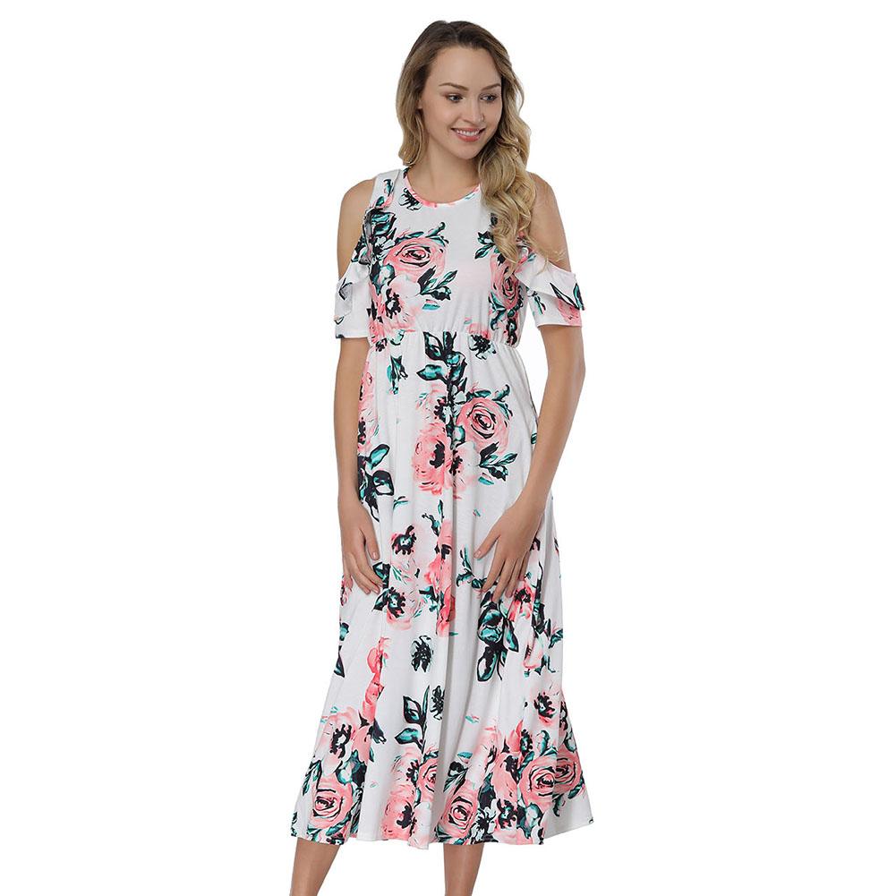 e1925874357 Wholesale Flower Girl Dresses Midi Cold Shoulder White Floral Print Dress