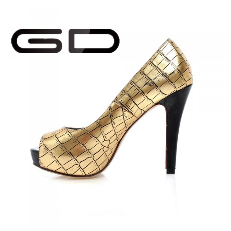 New design gold elegant rubber snakes high heels and platform shoes