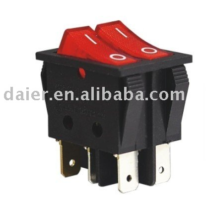 dpdt 6pin on off rocker switch with light indicator