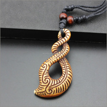 Yak bones carving maori pendants necklace with adjustable wooden beads hanging rope for wholesale