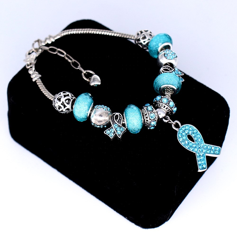 Custom Fashion Large Hole European Bead Teal Crystal Ribbon Ovarian Cancer Bracelets Awareness Jewelry Buy At The Price Of 4 74 In Alibaba Com Imall Com
