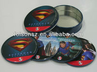 Round tin coasters set