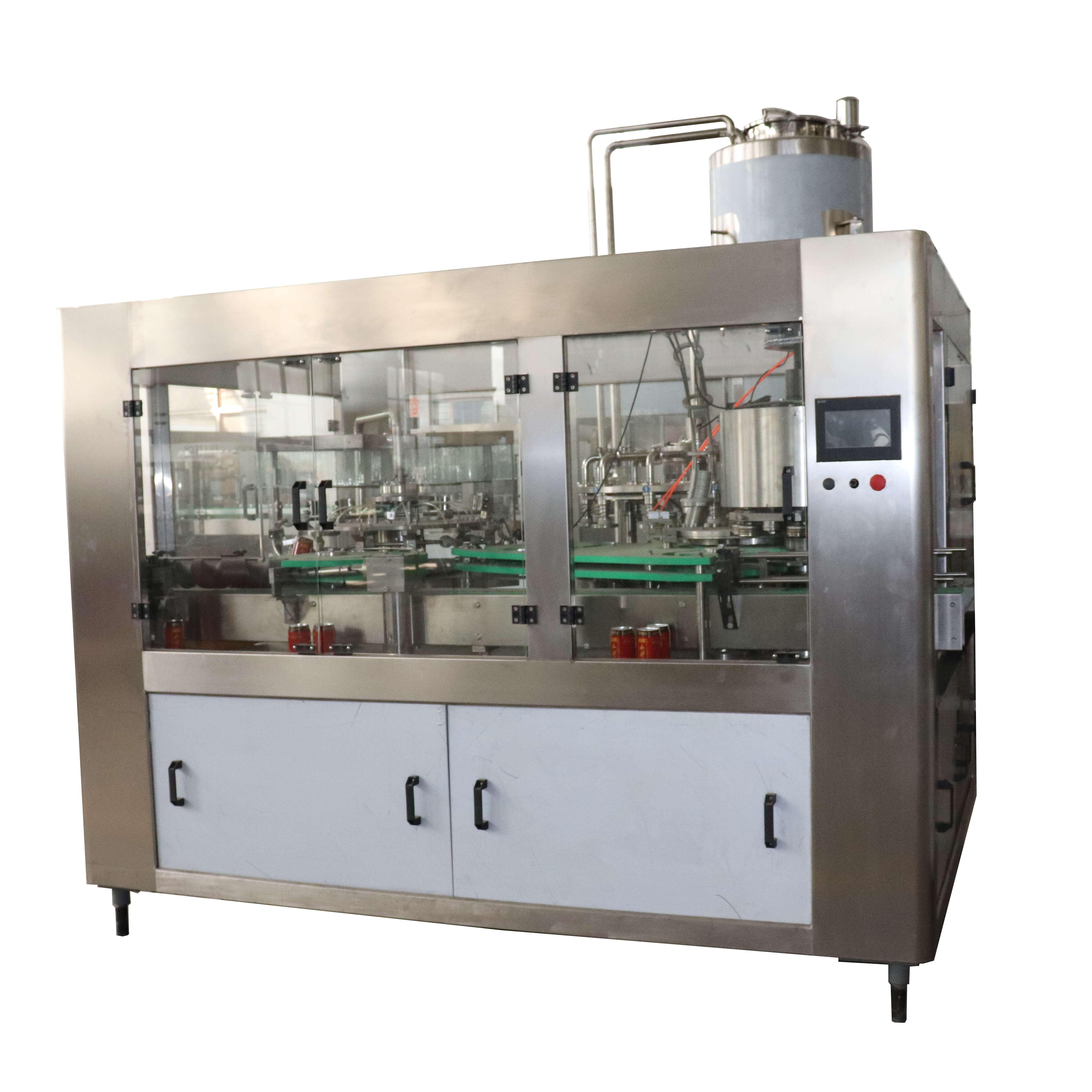 Automatic 2 in 1 monoblock ginger beer / root beer aluminum can rotary filling sealing machine price