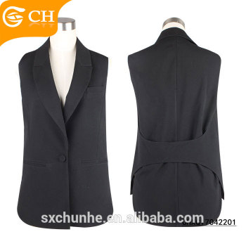 New Design Black Ladies Polyester Waistcoat for Girls