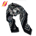 Custom Printed 30% silk 70% cotton Scarf For Women