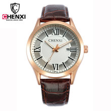 CHENXI 083A New Japan Luxury Quartz Wrist Leather Watch Men Watches Date Day Rose Gold Case Leather Band Wrist Watches