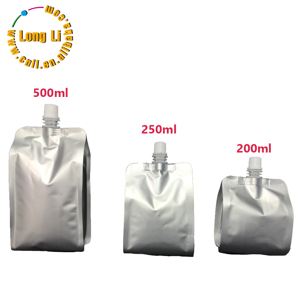 Customized 200ml/250ml/500ml Aluminum Foil Side Gusset Food juice Packaging spout Bags