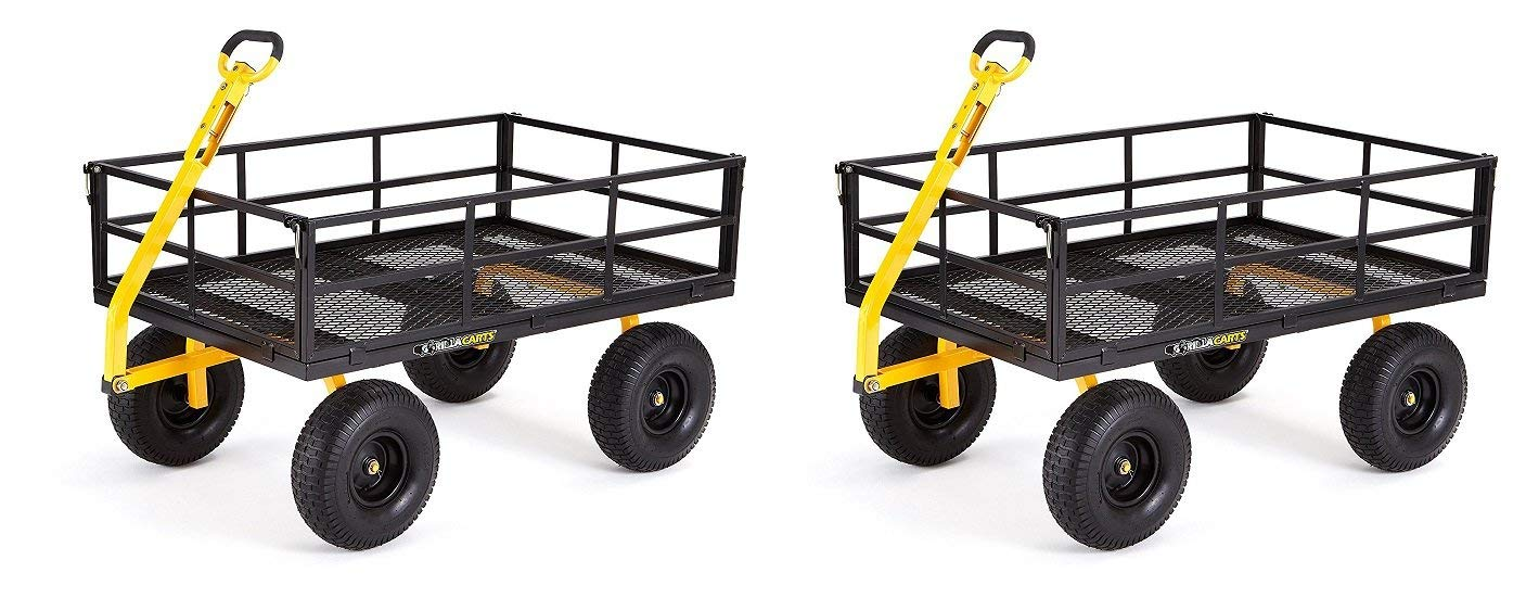 "Gorilla Carts GOR1400-COM Heavy-Duty Steel Utility Cart with Removable Sides and 15"" Tires, 1400-lbs. Capacity, Black (Pack of 2)"
