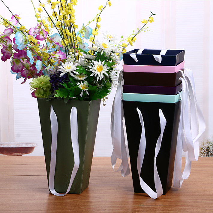 Customized printed vase shape fold floral delivery boxes