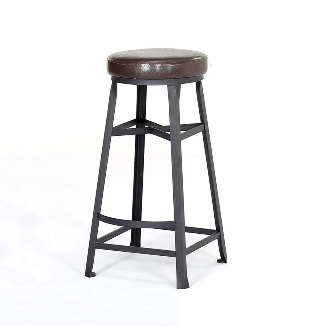 Round Bar Stools Bar Kitchen Breakfast Stool Dining Chair Wood/PU Seat Bar Chair High Stool Counter Chair (Color : A)