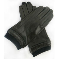 men classic style real black leather motorcycle gloves