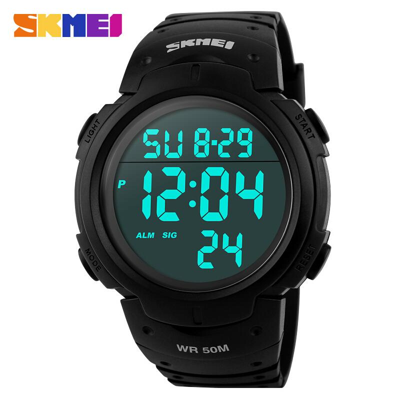 SKMEI Большие Модные повседневные мужские наручные часы Водонепроницаемые цифровые светодиодные часы к повседневной одежде Многофункциональные студенческого спортивные Часы