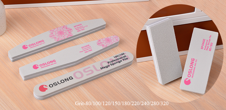 Nail file Supplies / High Quality Double Use Customize 80-320 Grit buffer with private label