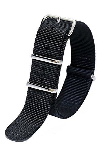 NATO G10 Nylon Premium Quality Replacement Watch Band Strap - 18mm / Black - FITS ALL BRAND WATCHES
