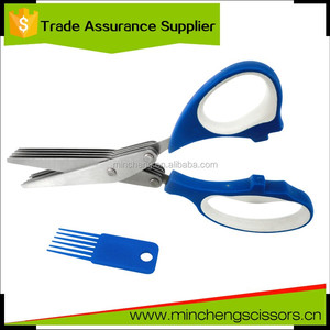 Stainless steel 5 blades herb scissors double blade kitchen scissors with soft handle