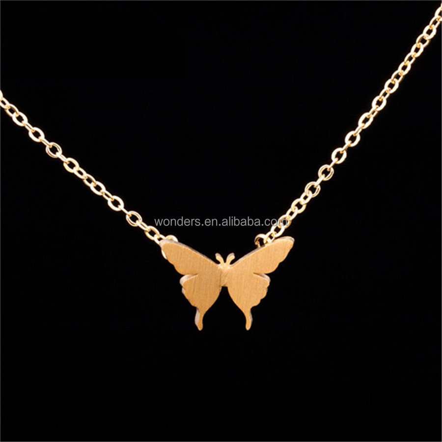 Alibaba.com / Dainty 18K Gold Silver Plated Butterfly Necklace Fashion Jewelry For Women And Girl Stainless Steel Jewellery