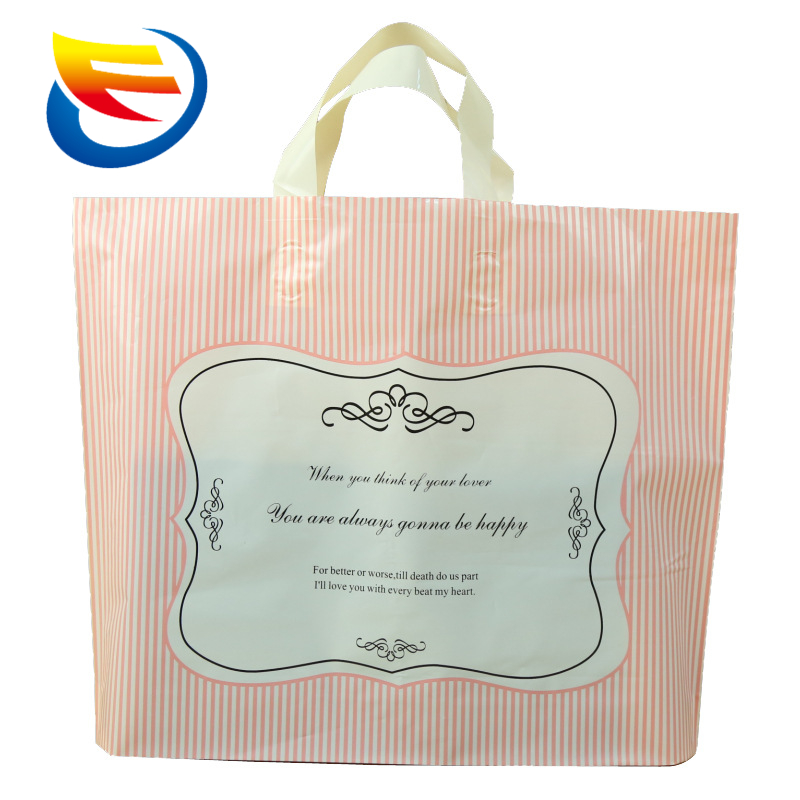 Wholesale spot color printing PE plastic bag More wide bottom clothing plastic portable shopping bag
