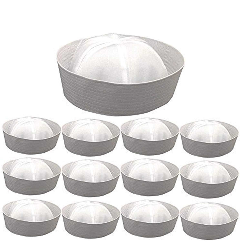 """Wholesale 1/2/6/12 Pack White Sailor Hats,22.5"""" &23.5"""" Sailor Costume Hat"""