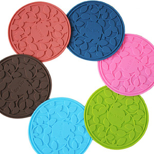 Custom Design Embossed Silicone Water Coasters , Tea / Coffee Rubber Recycled Cup Coasters In Various Color