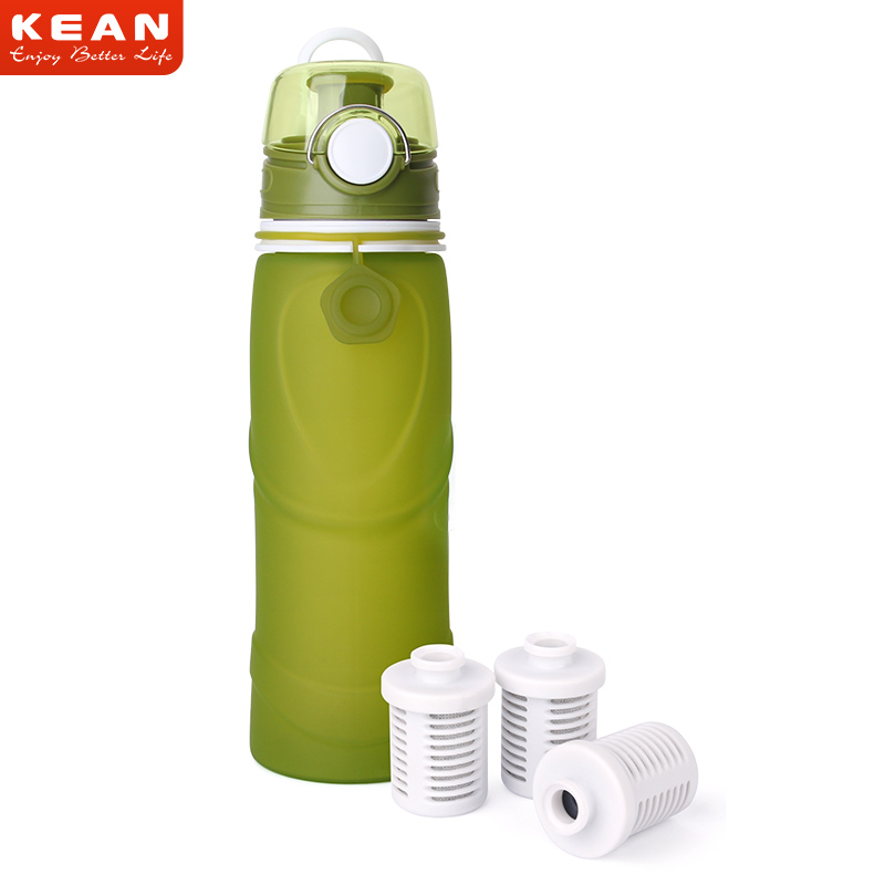 Healthy Travel Bpa Free Silicone Collapsible Water Bottle With Filter