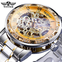 Winner 278 Fashion Diamond Display Luminous Hands Gear Movement Retro Royal Design Men Mechanical Skeleton Wrist Watches