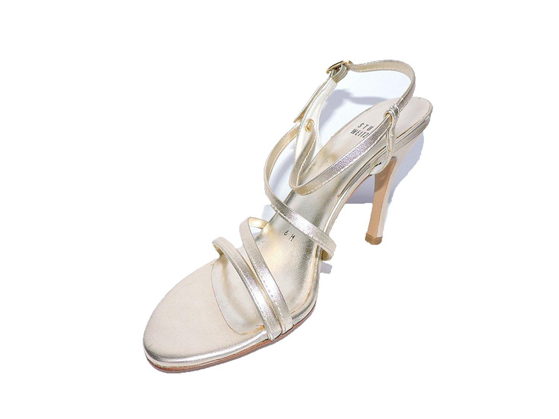 6c95f5d92ad Get Quotations · Stuart Weitzman Womens Wisp Gold Open-Toe Sandals Slingback  4