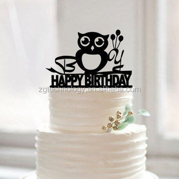 Baby Birthday Owl Shaped Monogram Cake Topper Personalized Initial Name Cake Topper For Gift - Buy Monogram Cake Topper,Owl Shaped Cake ...