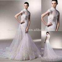 NY-2604 High neckline mermaid tissue chiffon lace wedding dress