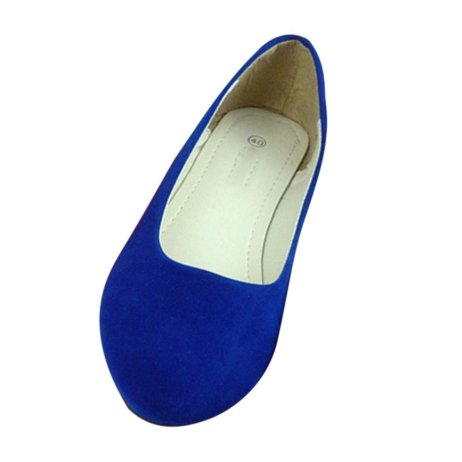 Maybest Women Suede Point Head Casual Flat Pumps Ladies Work Girls School Dolly Shoes
