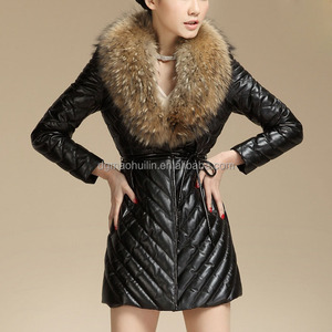2014 newest women long leather coat with big fur collar