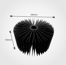 round anodized Black heatsink /aluminum alloy 6063 Extrusion heat sink for 100W Led light