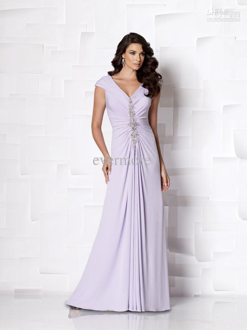2d52b8cf8171a Get Quotations · Light Purple A-line Chiffon Cap Sleeves Floor-length  Beaded Long Excellent Mother Of