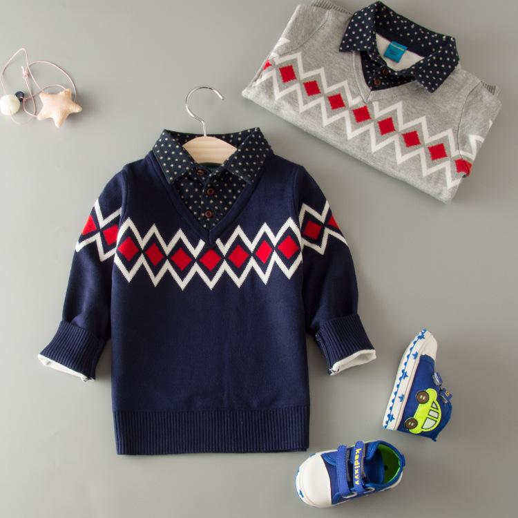 2016 moda niños bebés fácil patrón de tejer camisas cuello ganchillo ...