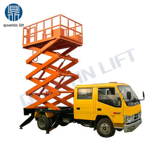 Vehicle mounted scissor lift platform modification by single-row car
