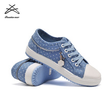 Ladies shoes spring blue canvas footwear lace up casual shoes woman