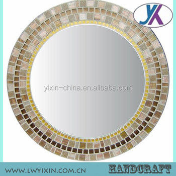 spell design crushed glass chips mosaic oval wall mirror