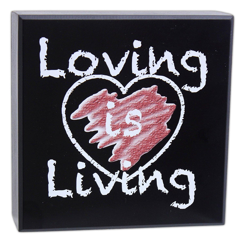 "Joy of Giving 6"" x 6"" Chalkboard Style ""Loving is Living"" Wood Block Sign"