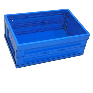 Folding plastic solid crate blue storage box for food transport and storage