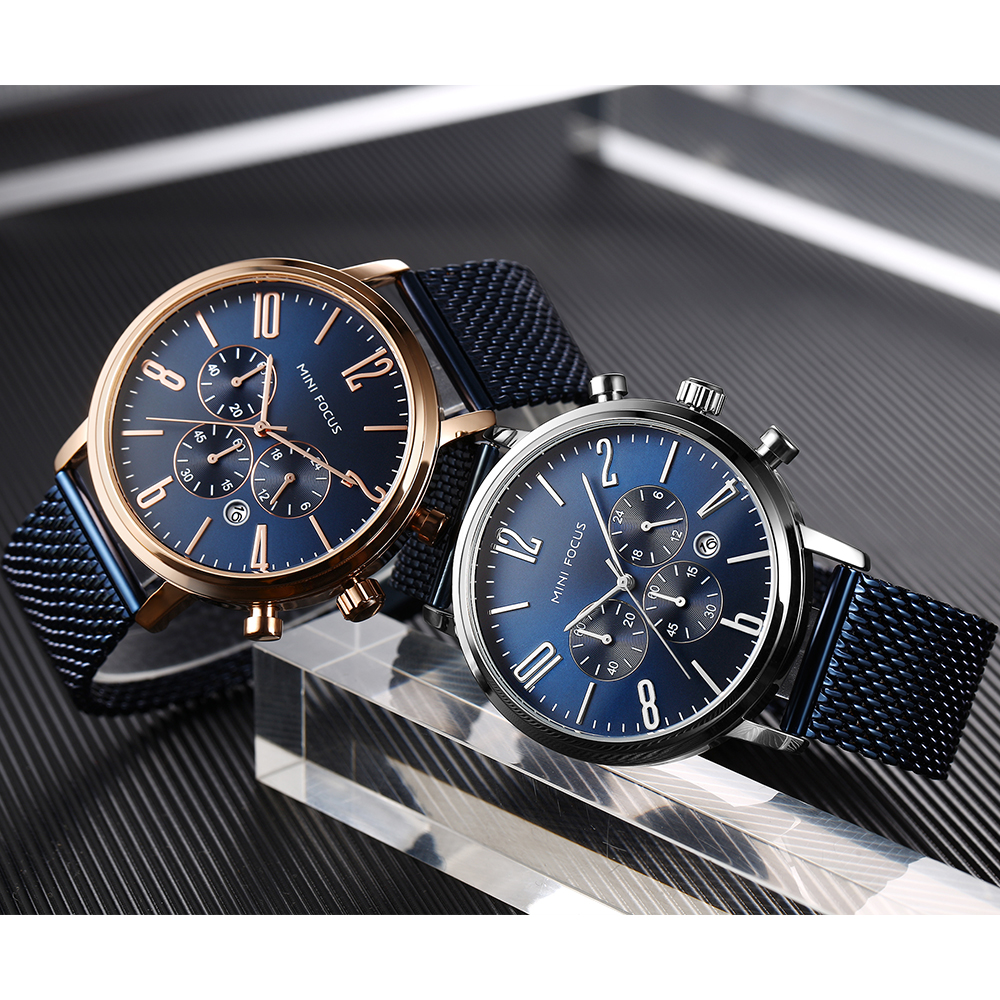 Mini Focus OEM Custom Logo China Factory Wholesale Cheap Price Fashion Color men Wrist mens reloj dama Watch with Watch Box, Black brown blue