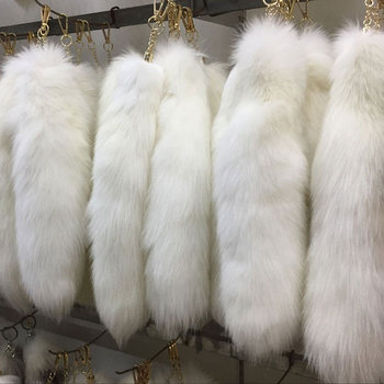 100% Real Fox Fur Colorful Fox Tail Bag Keychain Strap Chain