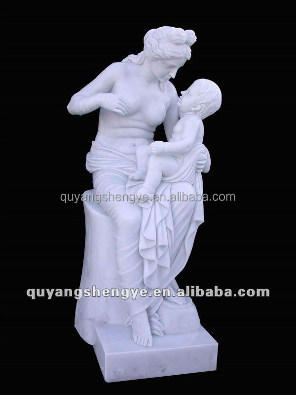 The Nude Woman white marble Sculpture Mother And Child Statue